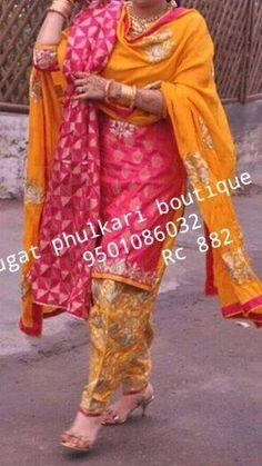 Orange and pink New Punjabi Suit, Punjabi Salwar Suits, Punjabi Bride, Patiala Salwar, Anarkali, Phulkari Saree, Sarees, Indian Suits, Indian Attire