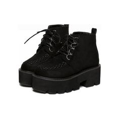 Black Suede Lace Up Punk Stitches Thick Sole Military Women Boots... (€51) ❤ liked on Polyvore featuring shoes, boots, ankle booties, suede lace up booties, black laced booties, suede booties, laced up platform booties and black suede booties
