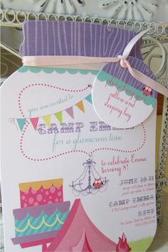 Glamping Mason Jar Die Cut  Birthday Invitation - Custom Die Cut on Etsy, $2.00