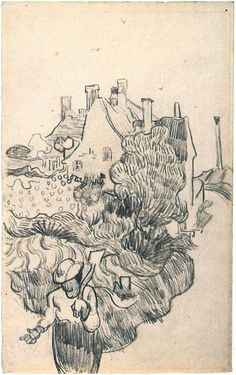 House at Auvers, Drawing by Van Gogh.
