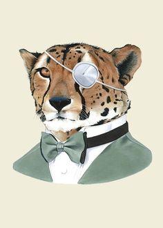 Cheetah Print 5x7 or 8x10 by Berkley Illustration #animals #portrait #cheetah #eyepatch #gentleman
