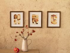 Miniature framed pictures vintage mushrooms by Katjuss on Etsy