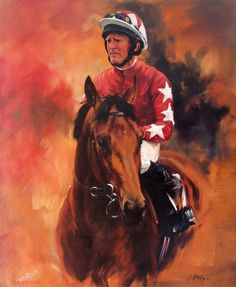 Rock Of Gibraltar and Mick Kinane. Limited Edition Horse Racing Print by Equestrian Artist Jacqueline Stanhope