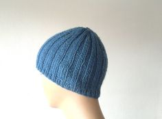 Knitted mens beanie beret hat in dark blue gift by KnitterPrincess, $19.90