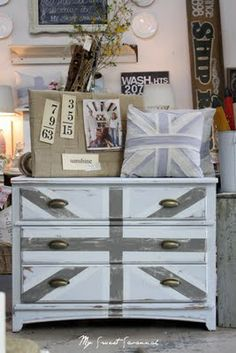Love this muted version of a british dresser.