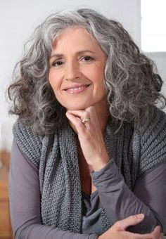 Curly gray hair style