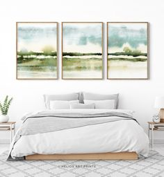 Set of three abstract impressionist misty savannah watercolour prints. Set of 3 impressionist grassland watercolor wall art