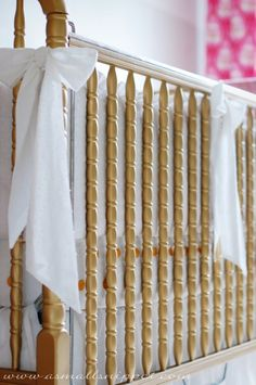 Gold Jenny Lind Crib from A Small Snippet - such a great Nursery DIY!