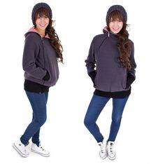 Viva la Mama | Baby Carrying Jacket TRIO (3in1- anthracite/red-white - lined). Hoody for pregnancy, maternity, baby wearing and everyday use. No worries about the blanket not covering toes or fingers!