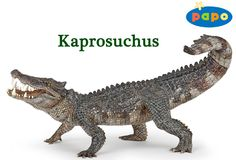 Papo - Kaprosuchus 55056 by Papo. Part of the Papo Dinosaur Series. The Papo Kaprosuchus is a hand painted sculpture. Jurassic World, Jurassic Park, Reptiles, Mammals, Amphibians, Extinct Animals, Prehistoric Animals, Disney Cars, Dinosaurs Series
