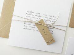 Katherine Wedding Invitation Deposit / Rehearsal Dinner Invitations / Kraft Wedding Invitation / Square Invitation / Simple / Minimalist