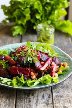 roasted beets with rhubarb, Paahdettu punajuuri-raparperisalaatti via Chocochili Salad Recipes For Dinner, Salad Dressing Recipes, Easy Salads, Healthy Salad Recipes, Vegan Roast, Vegan Lunches, Roasted Beets, Pesto, Brunch
