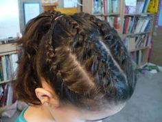 Four braids into a pony tail are perfect for a meet with a scrunchy from Gymnastics Hair blogspot