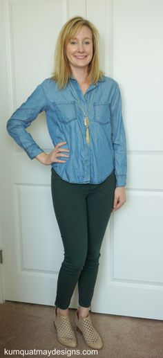 lila-ryan-liza-colored-skinny-jeans-chambray-top-kendra-scott-necklace-jeffrey-campbell-taggart-booties