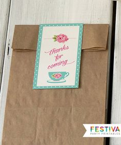Favor Tag / Aqua Pink Party / Thank You Card / por FestivaParty