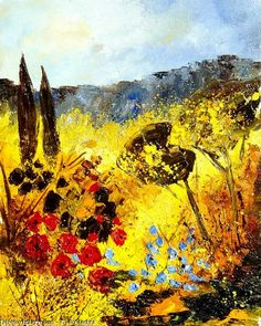 Artwork >> Pol Ledent >> Provence #artwork, #masterpiece, #painting, #contemporary, #art, #nature, #trees, #flowers, #field
