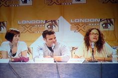 The Warehouse 13 Cast Allison Scagliotti, Eddie McClintock and Joanne Kelly during their talk at the MCM London Expo.     I like this one