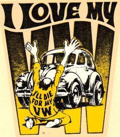 VINTAGE ORIGINAL ED ROTH WATER DECAL I LOVE MY VW BUG OLD 1960s BEELTE EMPI BAJA