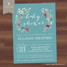 "Baby Shower Invitation, Bridal - ""Whimsy Garden""  Playful Floral / Poster Style - teal blue - Boy, Girl, Twins, Gender Neutral (Printable)"