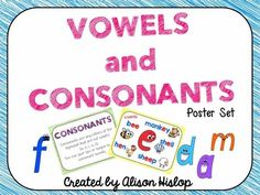Vowels and Consonants Posters Set from Teaching Maths with Meaning on TeachersNotebook.com -  (17 pages)  - Set of posters to help children understand the difference between a vowel and a consonant