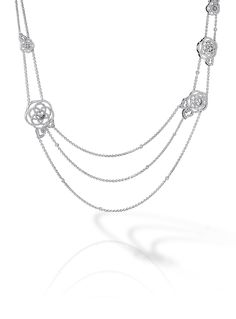 Camélia Sautoir in 18K white gold and diamonds - CHANEL
