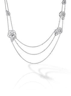 Discover the CHANEL CAMÉLIA NECKLACES: Camélia Sautoir in 18K white gold and diamonds.