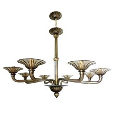 Italian Murano Smoky Brown Glass Chandeliers