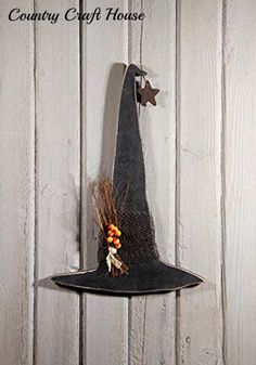 New Primitive Country Halloween Wood BLACK WITCH HAT Plaque Wall Hanging