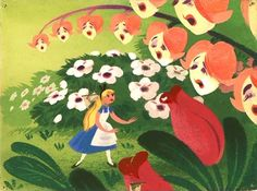 Mary Blair, Concept art for Alice in Wonderland, via kitschyliving  Is there anything better than Mary Blair Disney concept art?