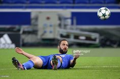 Gonzalo Higuain of Juventus reacts during the UEFA Champions League match between Olympique Lyonnais (OL) and Juventus Turin at Parc OL stadium on October 18, 2016 in Lyon, France.