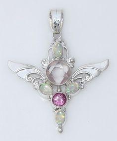 Rose quartz, pink topaz, white opal triplet and sterling silver pendant by Shankari