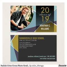 Stylish Criss Cross Photo Graduation Contact Card Designed by fat*fa*tin. Easy to customize with your own text, photo or image. For custom requests, please contact fat*fa*tin directly. Custom charges apply. www.zazzle.com/collections/graduation_invitations-119988321070623801 www.zazzle.com/collections/graduation_thank_you-119015369615228414 www.zazzle.com/fat_fa_tin www.zazzle.com/color_therapy www.zazzle.com/fatfatin_blue_knot