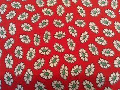 Vintage Vibrant Red with White Green Flowers Flour Feed Sack Fabric Quilts 24x46
