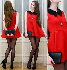 Red dress & black dots (by Ariadna Majewska) http://lookbook.nu/look/3129083-Red-dress-black-dots