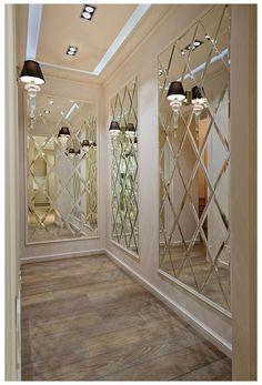 Salon Interior Design, Luxury Interior, Mirror Wall Tiles, Mirrored Tile Bathroom, Decorative Wall Mirrors, Wall Mirror Ideas, Mirrored Walls, Hallway Mirror, Mirror Wall Stickers
