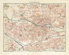 Nürnberg Antique Map Reproduction /  Old Map Print  - handmade paper print
