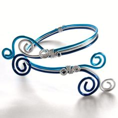 Arm Band - Arm Bracelet - Arm Cuff - Blue and Silver Aluminum. $12.00, via Etsy.