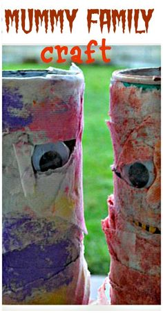 Fun family craft for Halloween - Make colorful mummy family! #halloweencraftsforkids from Blog Me Mom