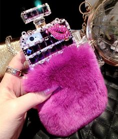 1pc Cute furry rhinestone crystal lips perfume bottle case cover for iPhone 6 plus 5 5s 4 4s cell phone case