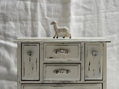 Large jewelry armoire white wash heavy distressed European Chic