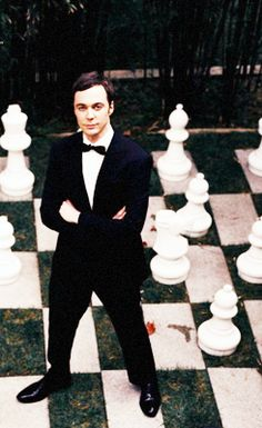 Jim on a life-size chess board, looking dapper as always. <3