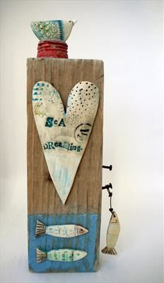 Sea Dreaming Bird & Fishes - Shirley Vauvelle