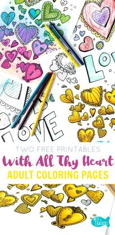 Color these free printable adult coloring pages with all your heart. artscrackers.com | Coloring Page | Free Coloring | Adult Coloring | Stress Reliever | Hearts | Heart Coloring Pages | Love | Printable | Let