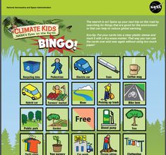 The NASA bingo cards games let you generate and print a well design bingo boards for off line gaming. You can choose how many cards to generate in order to get many players engaged in the game. The site also allows kids to get some learning material about each tile, to learn about how each item affects the environment