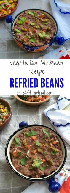 Mexican Vegetarian recipes: This vegetarian / vegan version of Refried Beans made using Kashmiri Rajma (Kidney) Beans is the base recipe for many Mexican favourites- Loaded Nachos, Quesadillas, Tostadas etc.