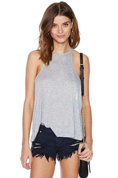 Totally essential gray tank featuring a racer front and back.