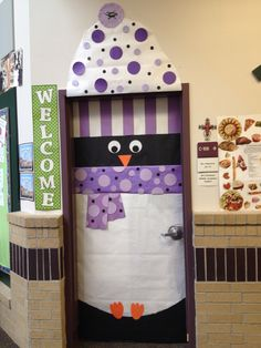 Winter Penguin door decoration, complete with hat and scarf in TCU colors. :)