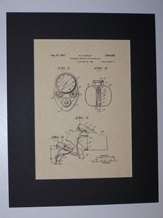 Harley Instrument Mounting for Motorcycles 1937 sheet 2 Patent Drawing Motorcycle Harley Davidson