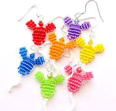 Mickey Mouse Balloons Beaded Earrings Bow Centers Embellishments or Applique Custom Colors