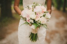 Blush Pink, Mint & Burlap Rustic DIY Wedding Love the bouquet but perhaps without the pink?